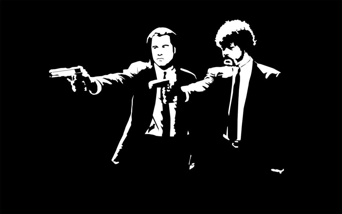 Pulp Fiction Samuel L_ Jackson monochrome John Travolta black background wallpaper