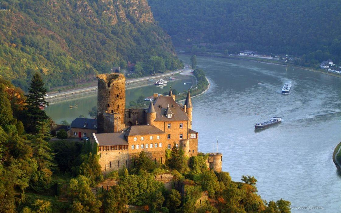 castles Germany Rhine valley Burg Castle wallpaper