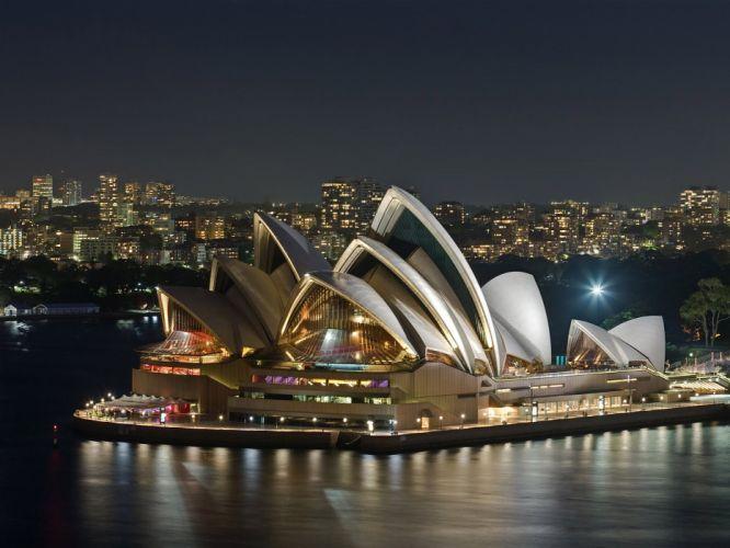 night architecture Sydney opera house Australia wallpaper