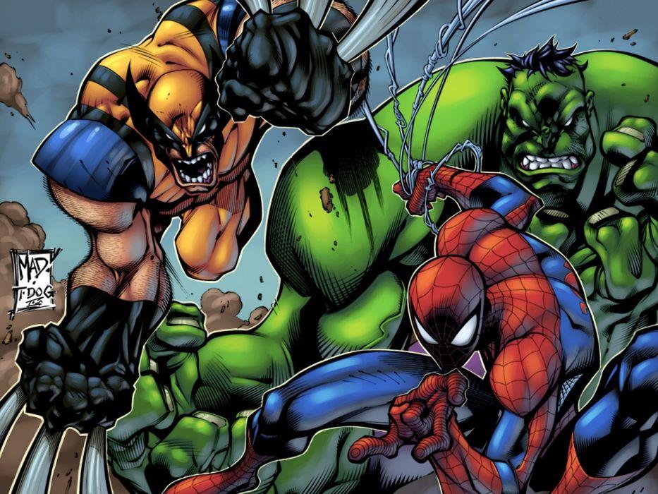 Hulk (comic character) comics Spider-Man Wolverine Marvel Comics wallpaper