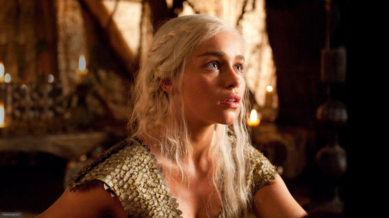 blondes women actress Game of Thrones white hair Emilia Clarke Daenerys Targaryen House Targaryen wallpaper