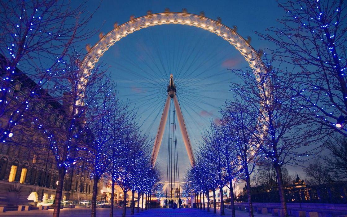trees London buildings London Eye ferris wheels United Kingdom Christmas lights wallpaper