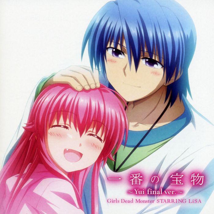 women Angel Beats! blue hair pink hair smiling anime boys Yui (Angel Beats) Hideki Hinata wallpaper