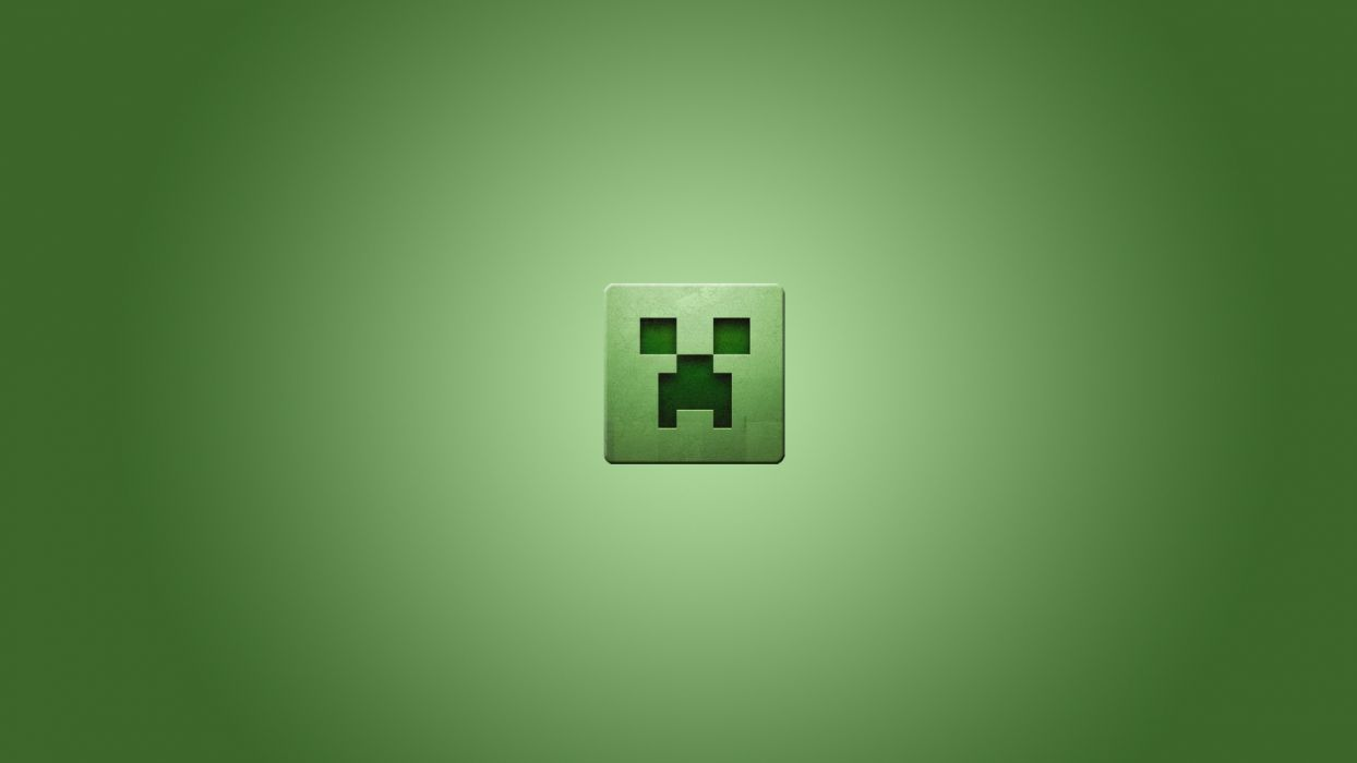 video games minimalistic creeper Minecraft simplistic simple background green background wallpaper