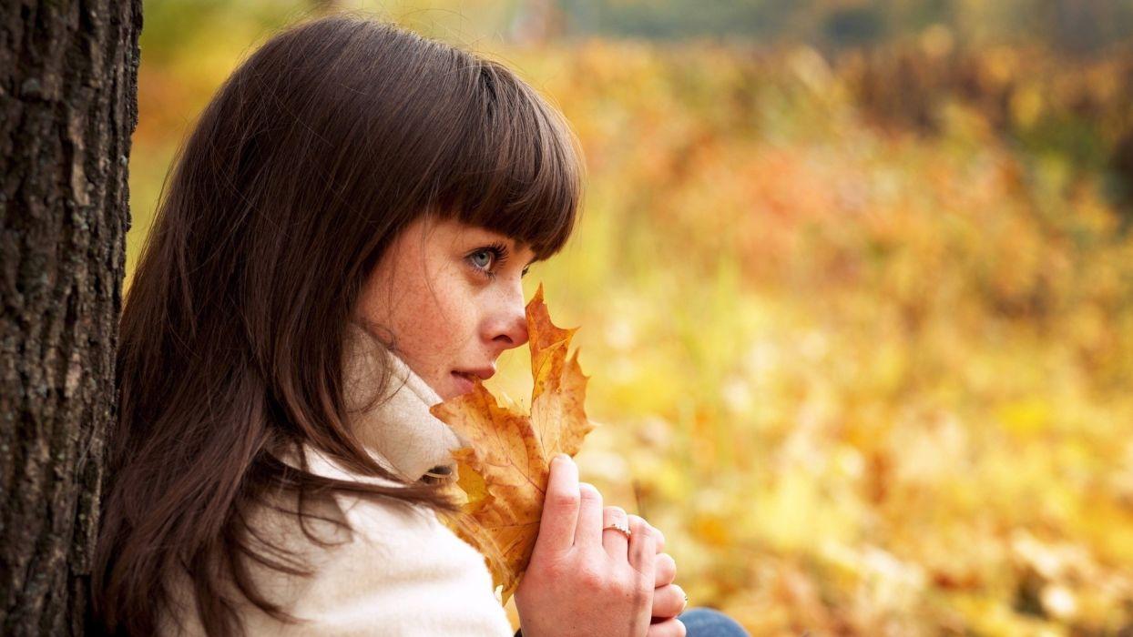brunettes women trees autumn leaves models parks TagNotAllowedTooSubjective Zoe Duchesne wallpaper