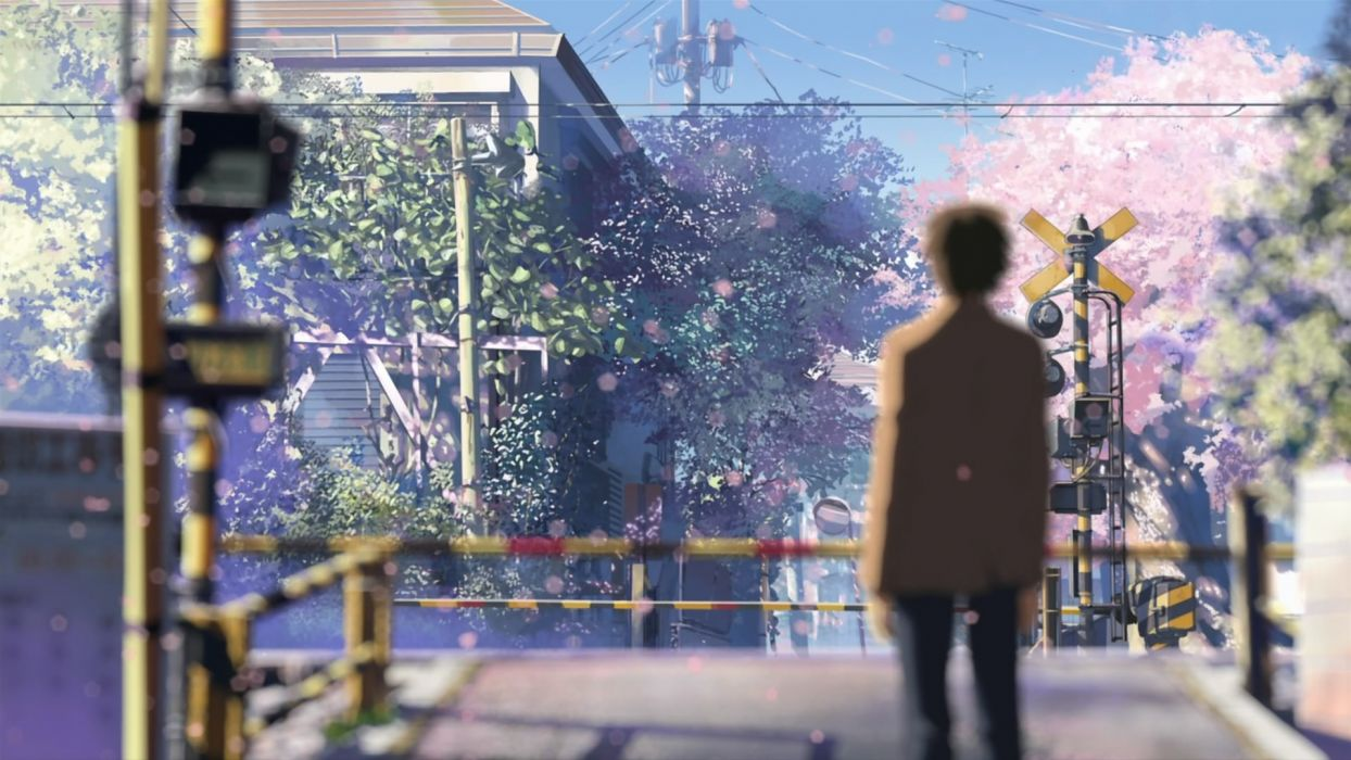 Makoto Shinkai 5 Centimeters Per Second railroad crossing wallpaper