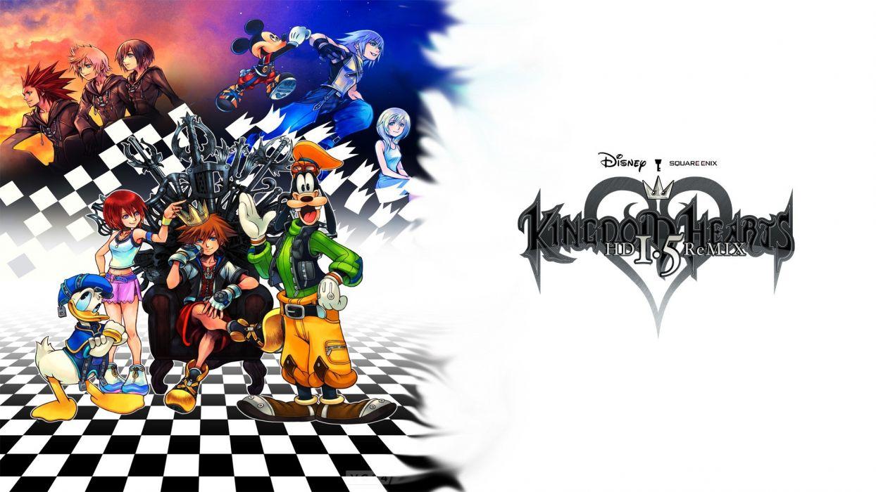 video games Kingdom Hearts Kairi Goofy Mickey Mouse Donald Duck Roxas Riku Axel remix Kingdom Hearts II Organization XIII Disney Logo Sora wallpaper