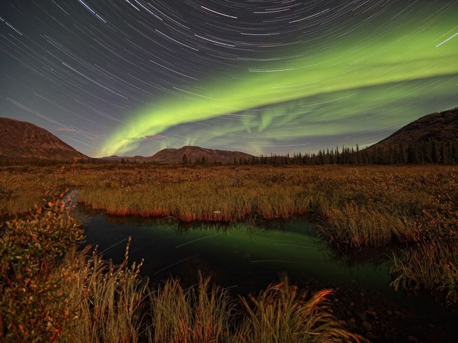 nature aurora borealis Yukon star trails wallpaper