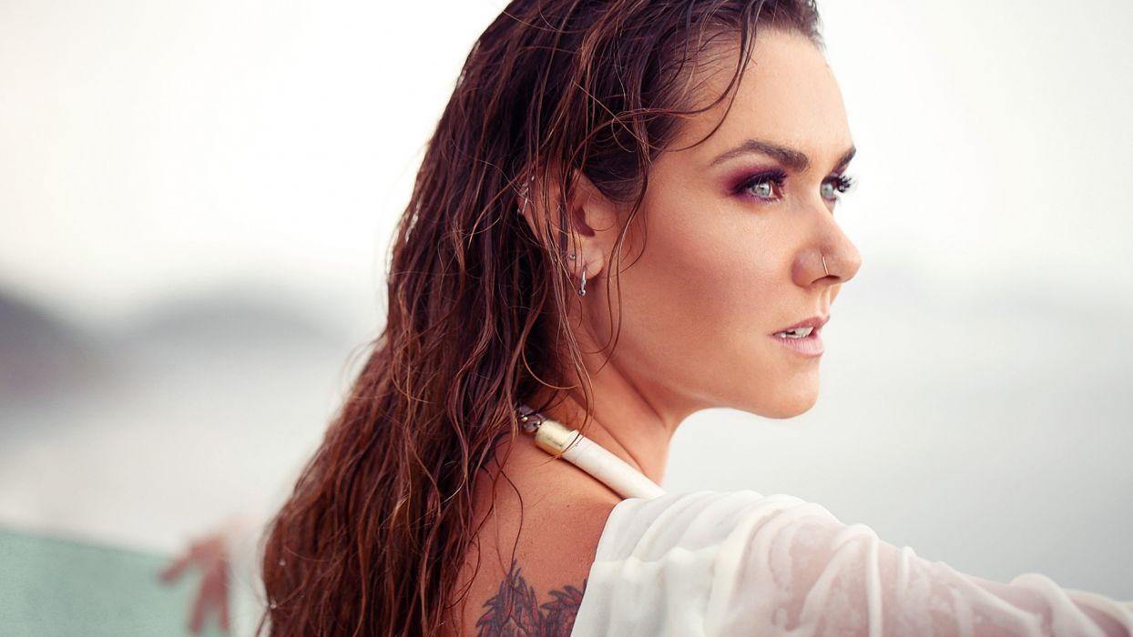 brunettes tattoos women blue eyes wet long hair nose ring profile blurred Brazilian Luize Altenhofen wallpaper