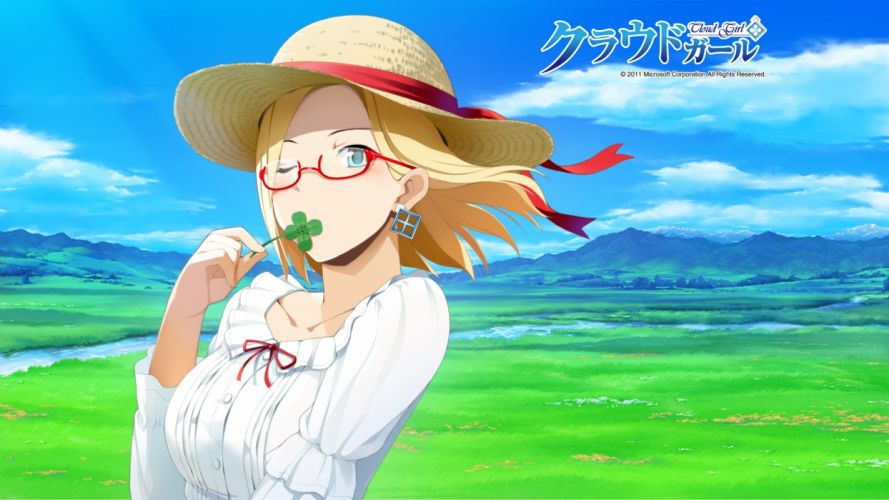 blondes clouds landscapes nature text blue eyes glasses ribbons streams short hair scenic earrings Microsoft Windows meganekko OS-tan four leaf clover skyscapes hats Clovers Claudia Madobe wallpaper