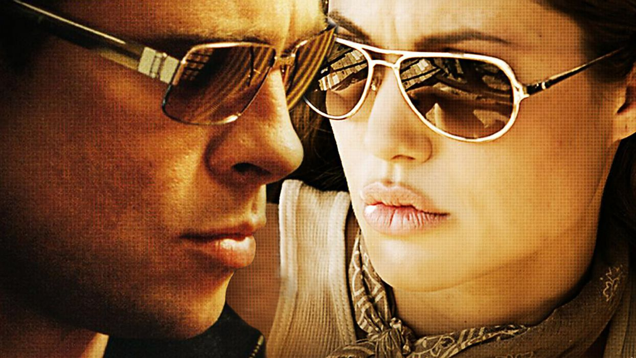 MR-AND-MRS-SMITH romantic comedy action mrs smith angelina jolie brad pitt glasses sunglasses  f wallpaper