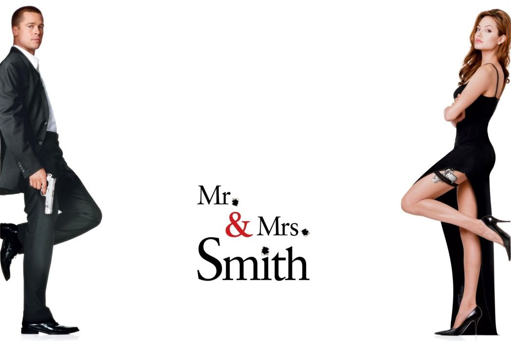 MR-AND-MRS-SMITH romantic comedy action mrs smith angelina jolie brad pitt poster h wallpaper