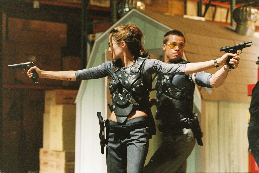 MR-AND-MRS-SMITH romantic comedy action mrs smith angelina jolie brad pitt weapon gun f wallpaper