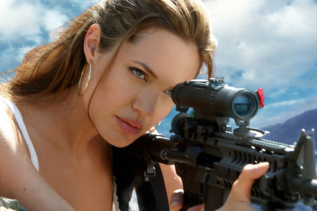 MR-AND-MRS-SMITH romantic comedy action mrs smith angelina jolie weapon gun  d wallpaper