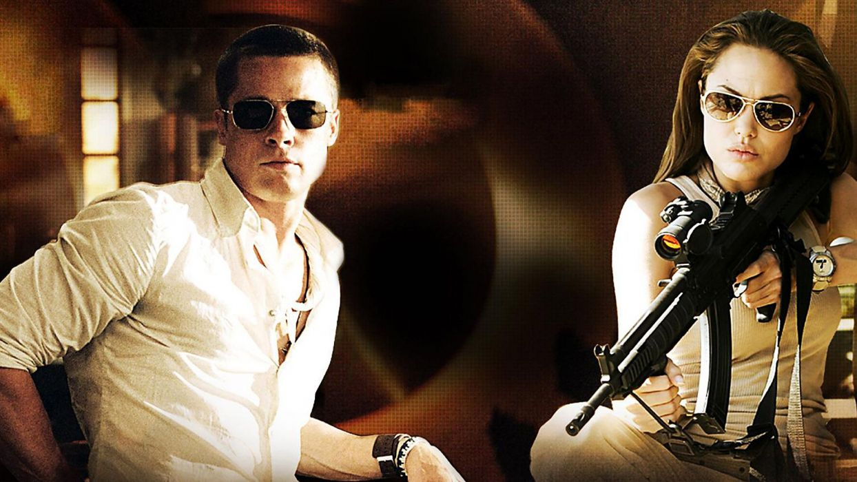 MR-AND-MRS-SMITH romantic comedy action mrs smith angelina jolie weapon gun  g wallpaper