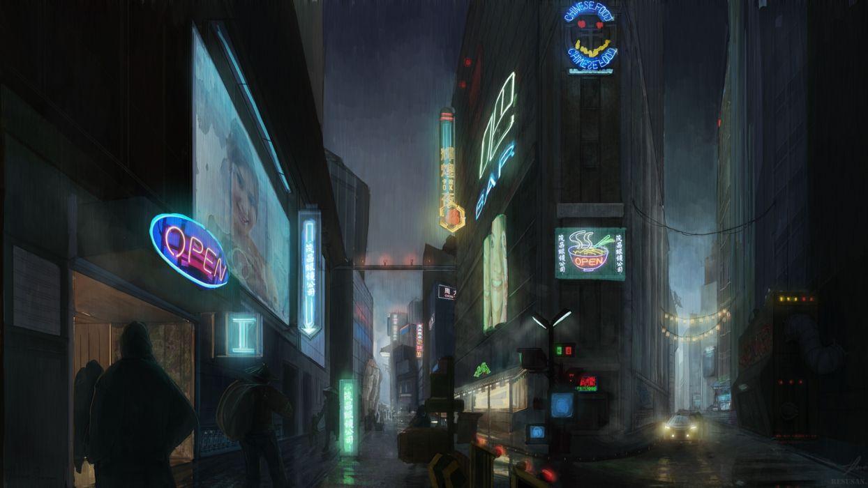 BLADE RUNNER drama sci-Fi thriller action city    f wallpaper