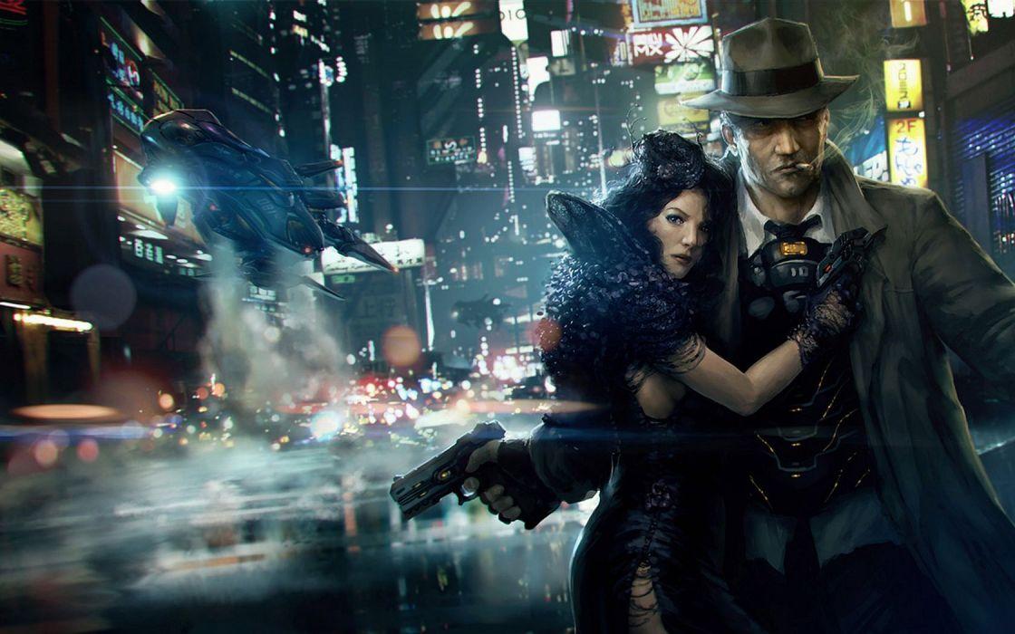 BLADE RUNNER drama sci-Fi thriller action city weapon gun    f wallpaper