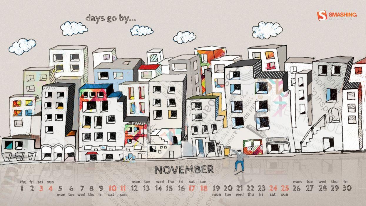 clouds text buildings skateboarding november calendar artwork drawings Smashing magazine wallpaper