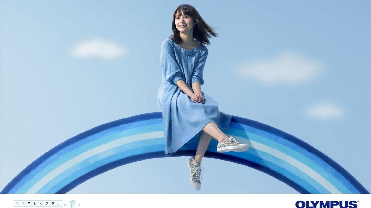 women dress actress Japanese celebrity rainbows Asians smiling Aoi Miyazaki blue dress blue background bangs wallpaper