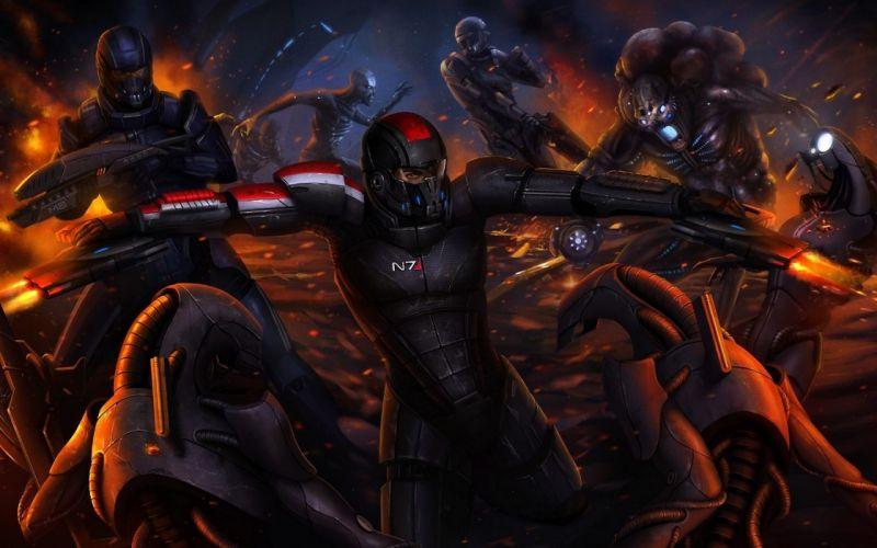 video games futuristic Mass Effect battles artwork Mass Effect 3 Kaidan Alenko Commander Shepard wallpaper