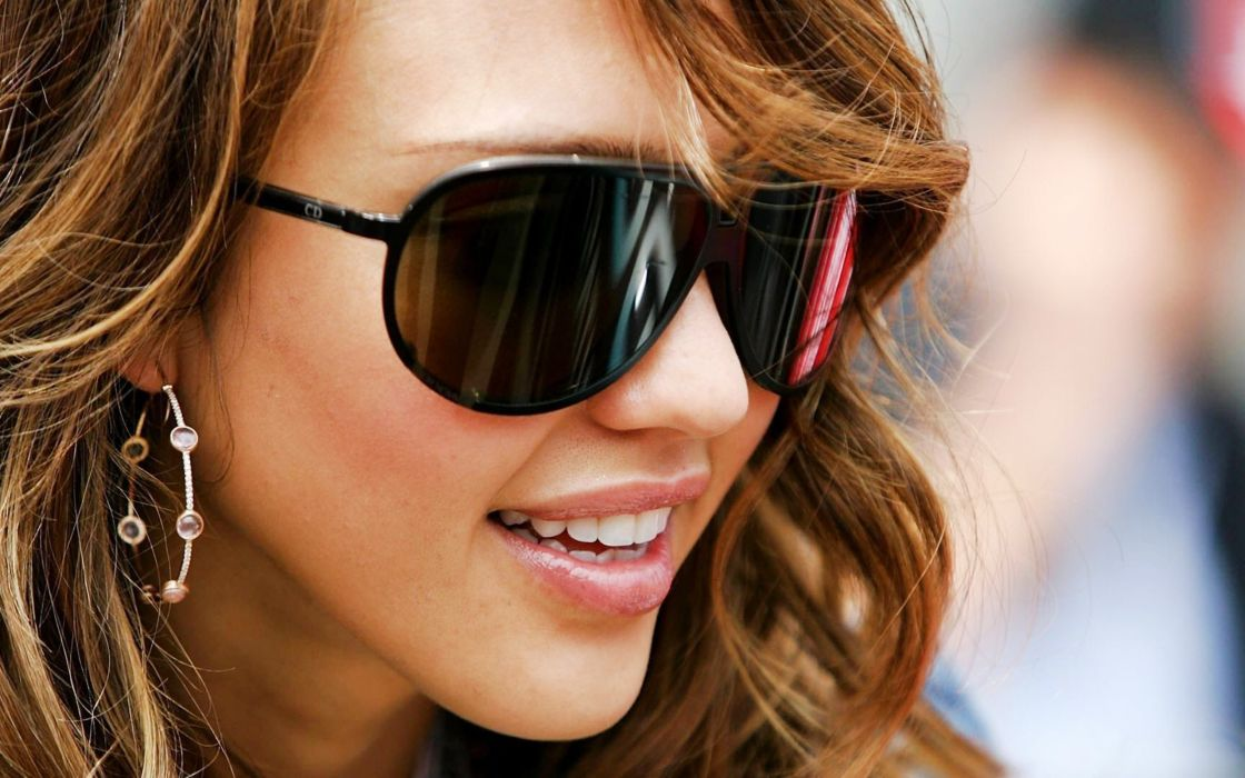women Jessica Alba actress glasses celebrity smiling earrings faces wallpaper