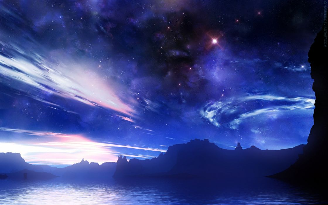 outer space stars silhouettes fantasy art waterscapes wallpaper