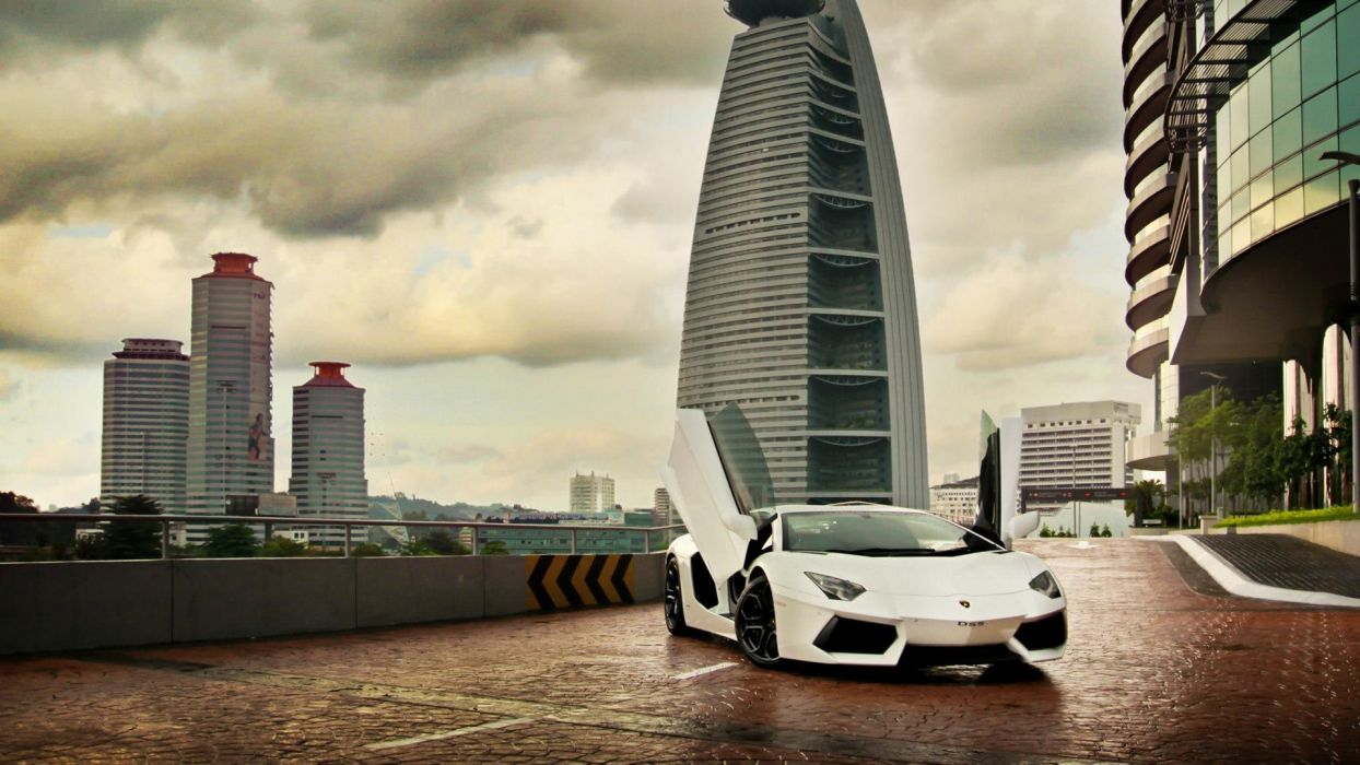 white scissors Lamborghini buildings Lamborghini Aventador hotels doors wallpaper