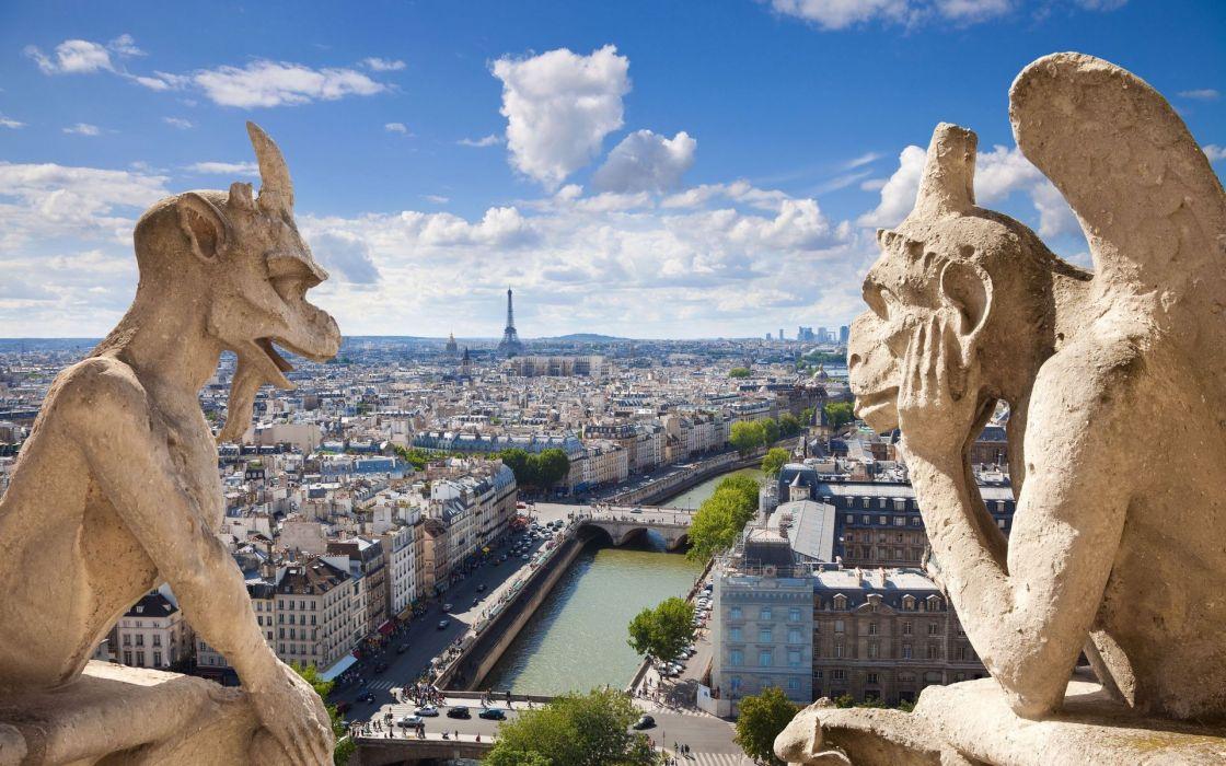 Paris France statues wallpaper