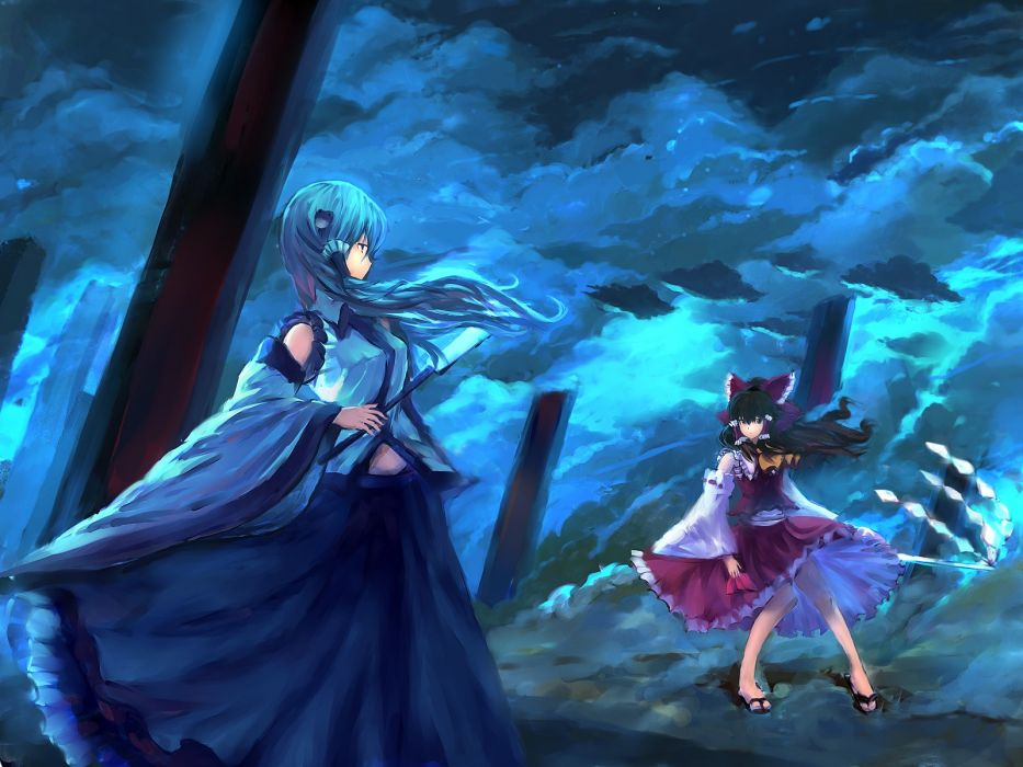 brunettes video games blue clouds Touhou wind skirts long hair Miko green hair Hakurei Reimu Mountain of Faith sandals ponytails Kochiya Sanae staff skyscapes Japanese clothes anime girls gohei onbashira detached sleeves hair ornaments skies bare shoulder wallpaper
