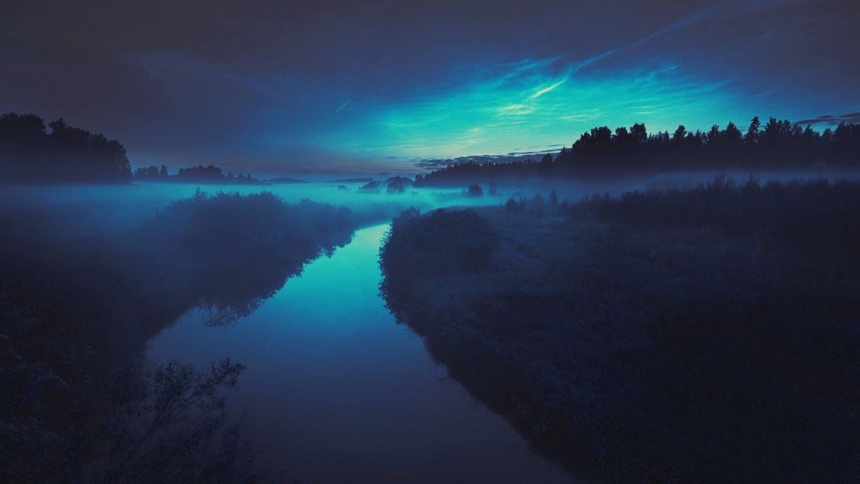 blue lights stars fog skies wallpaper