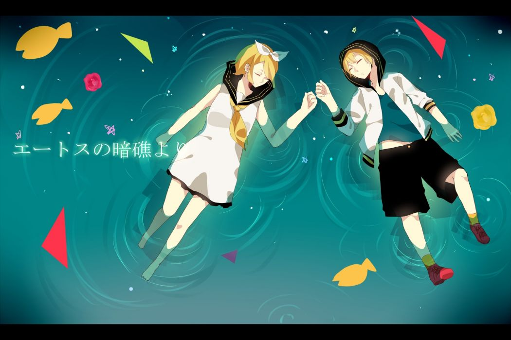 blondes water Vocaloid dress ribbons Kagamine Rin Kagamine Len short hair hoodies closed eyes hair ribbons wallpaper