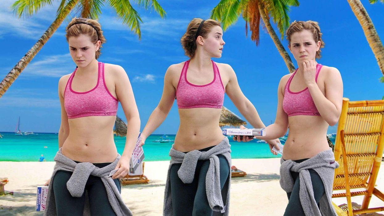 brunettes blondes women Emma Watson actress celebrity short hair sports bra wallpaper