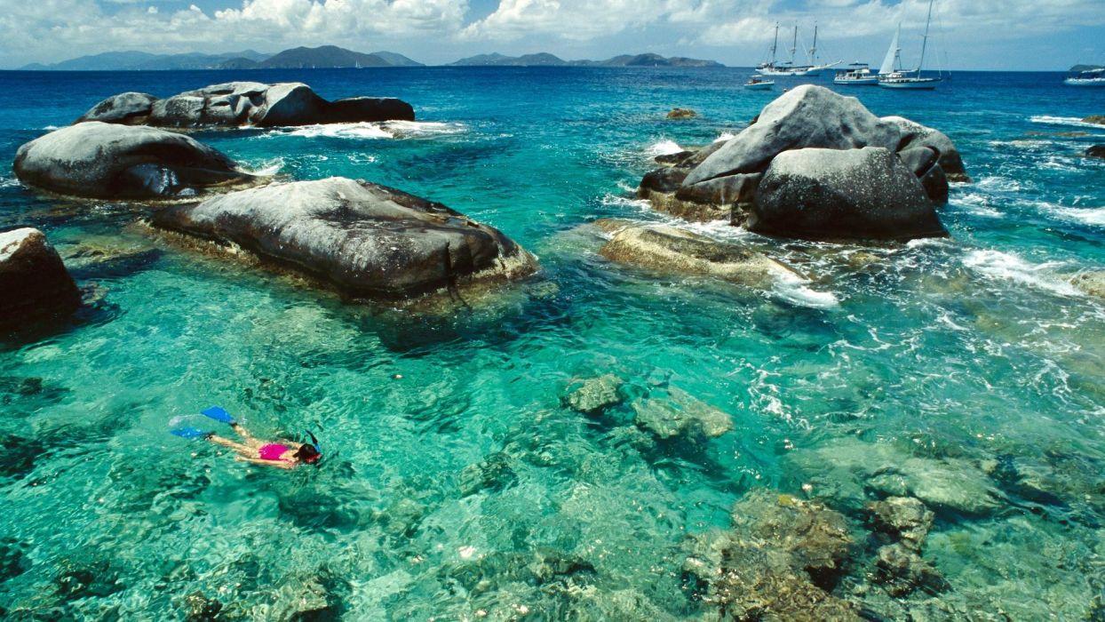 landscapes rocks tropical sea wallpaper