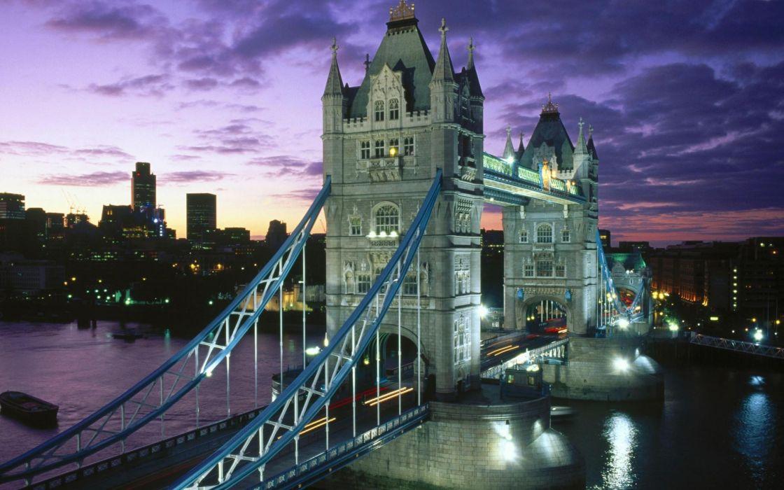 clouds London bridges cities skies wallpaper