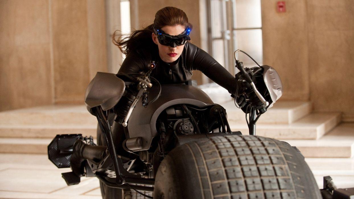 women Anne Hathaway movies Catwoman motorbikes Batman The Dark Knight Rises wallpaper