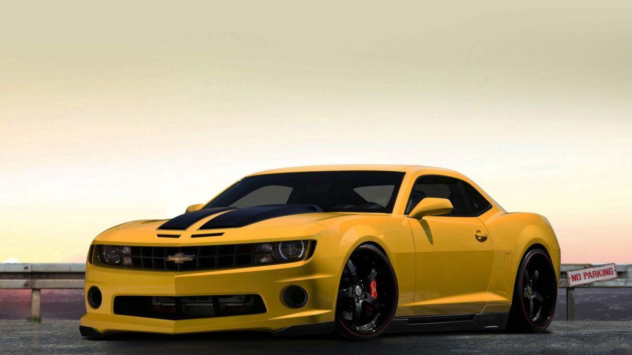 cars Chevrolet vehicles tuning Chevrolet Camaro yellow cars wallpaper
