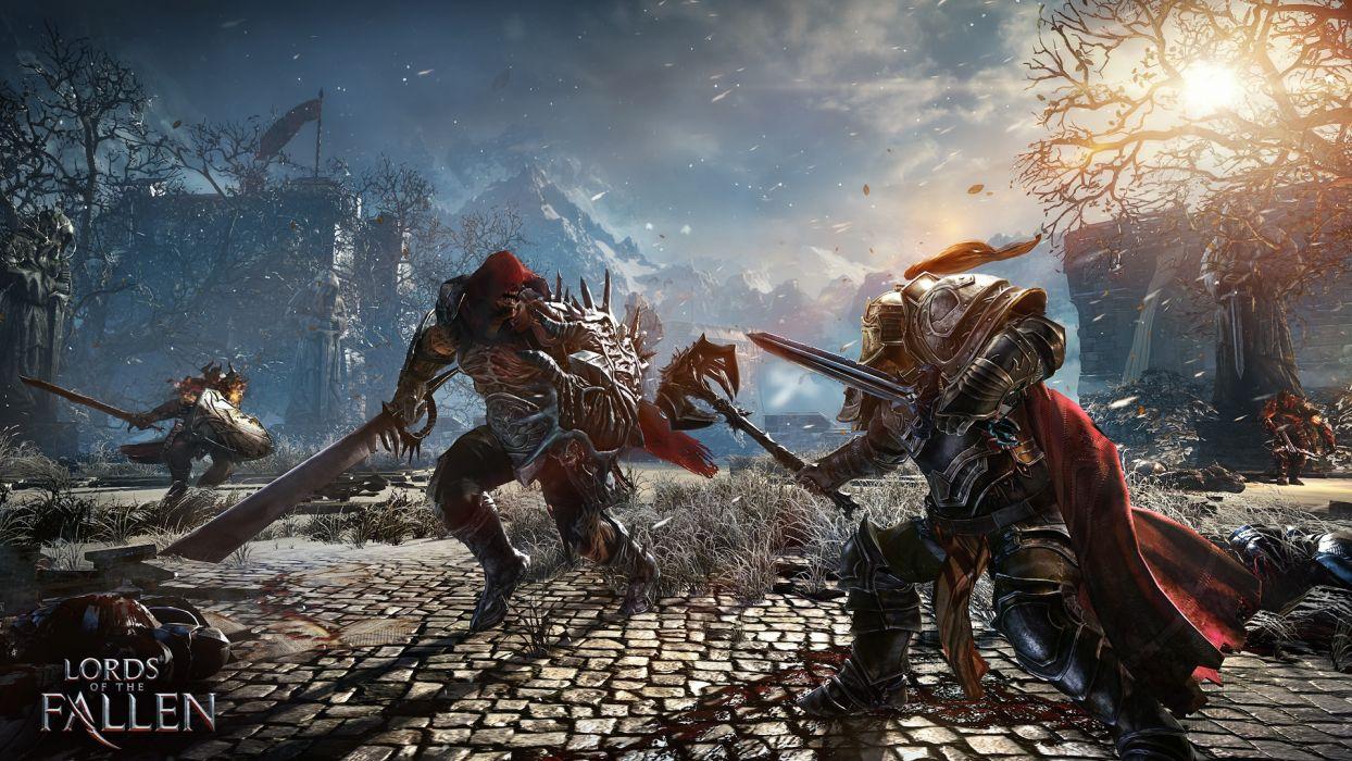 LORDS OF THE FALLEN fantasy warrior battle armor weapon sword    d wallpaper
