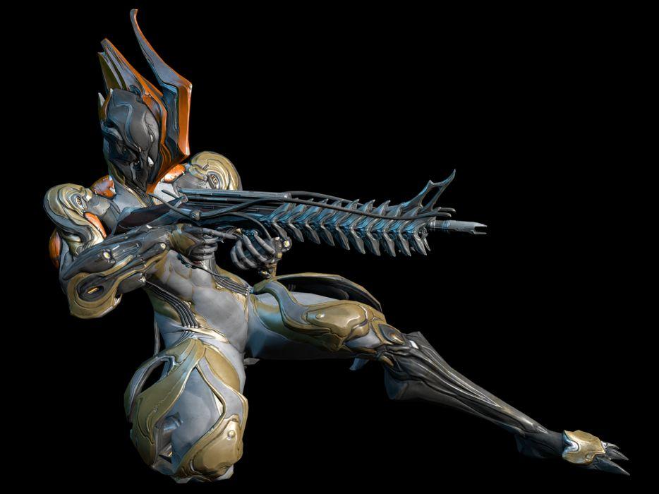 WARFRAME sci-fi warrior armor robot cyborg weapon gun d wallpaper
