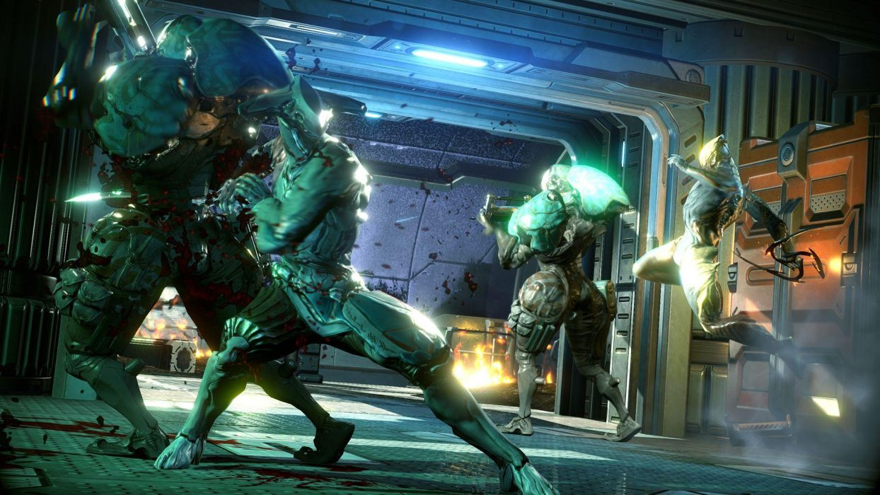 WARFRAME sci-fi warrior armor robot cyborg weapon gun battle     d wallpaper