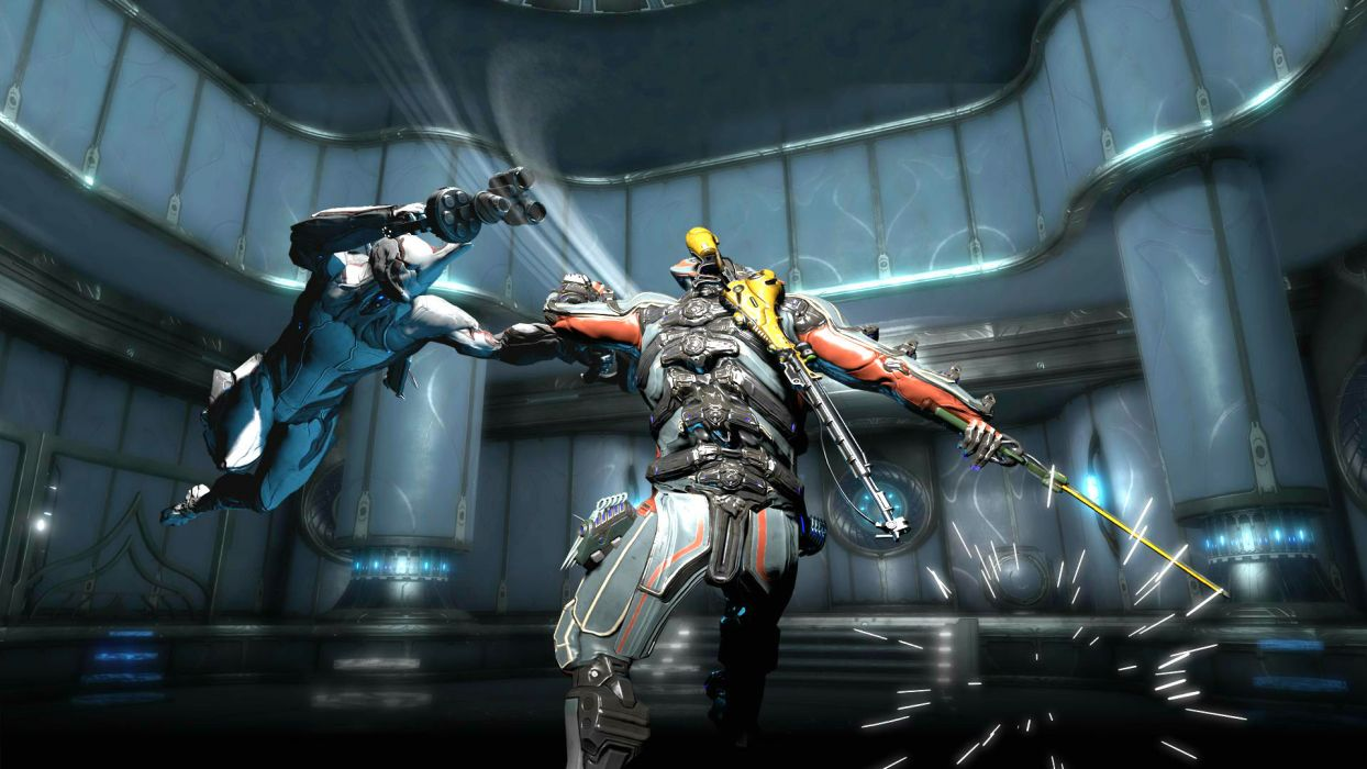 WARFRAME sci-fi warrior armor robot cyborg weapon gun battle   ru wallpaper
