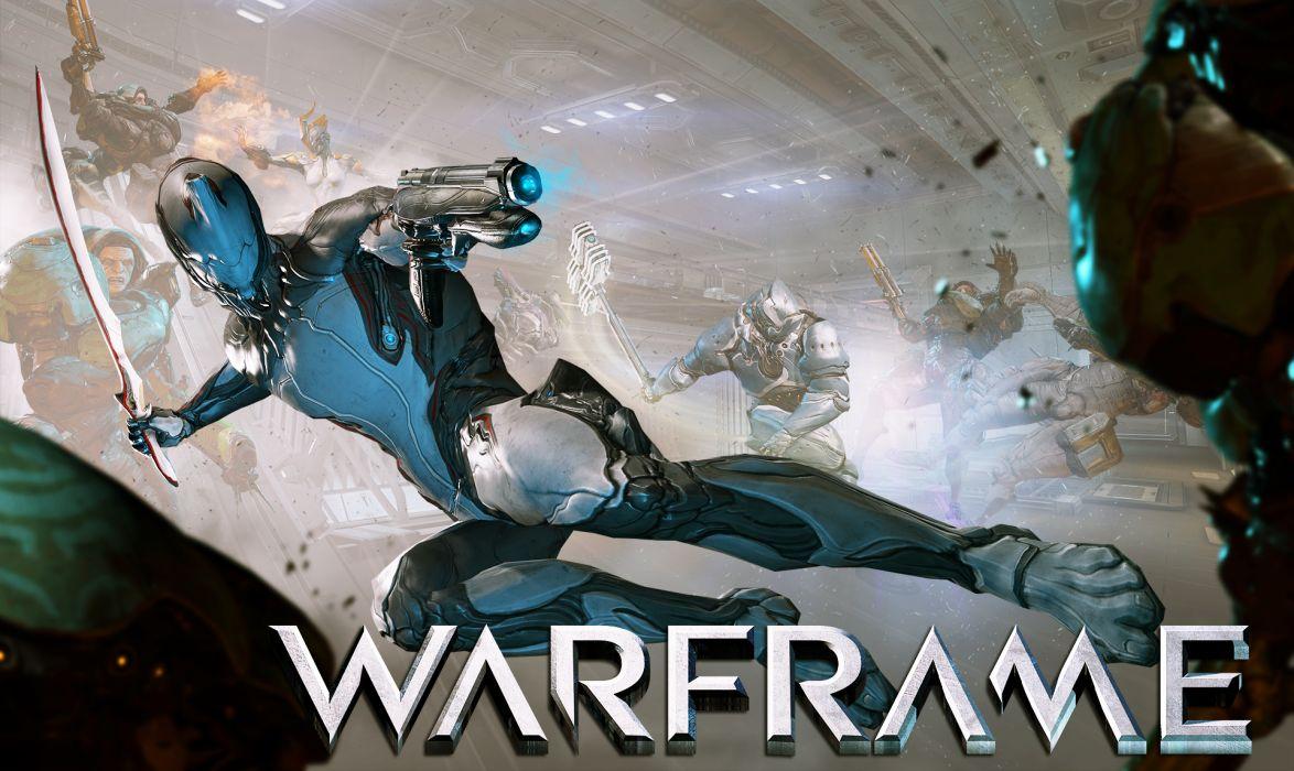 WARFRAME sci-fi warrior armor robot cyborg weapon gun battle poster   v wallpaper