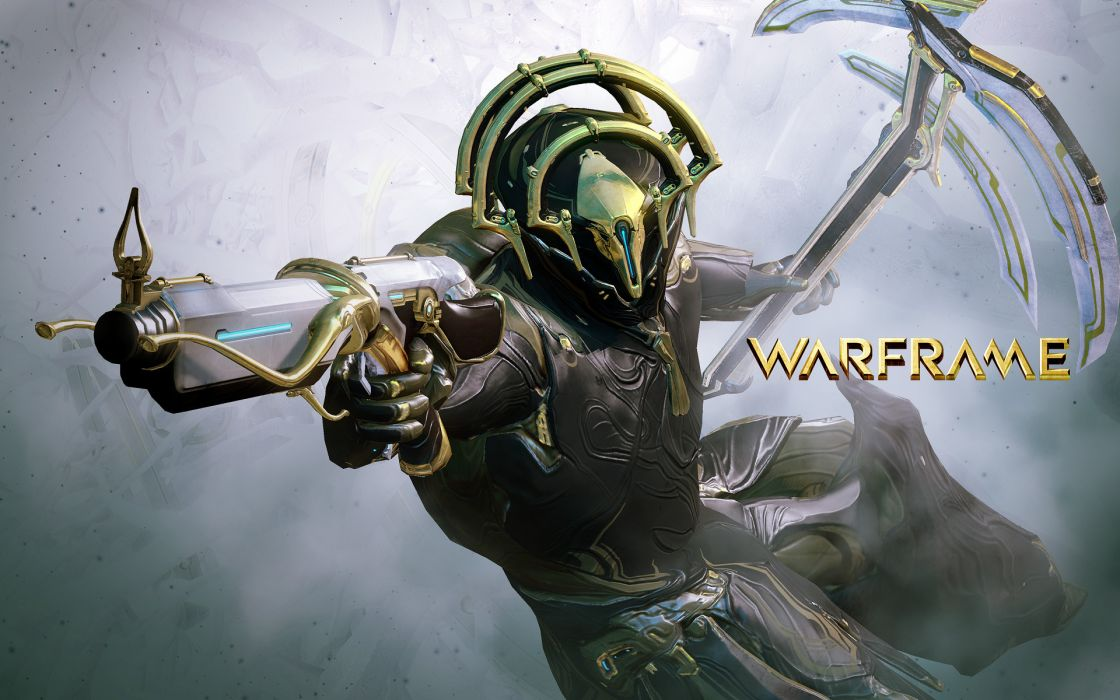 WARFRAME sci-fi warrior armor robot cyborg weapon gun poster    g wallpaper