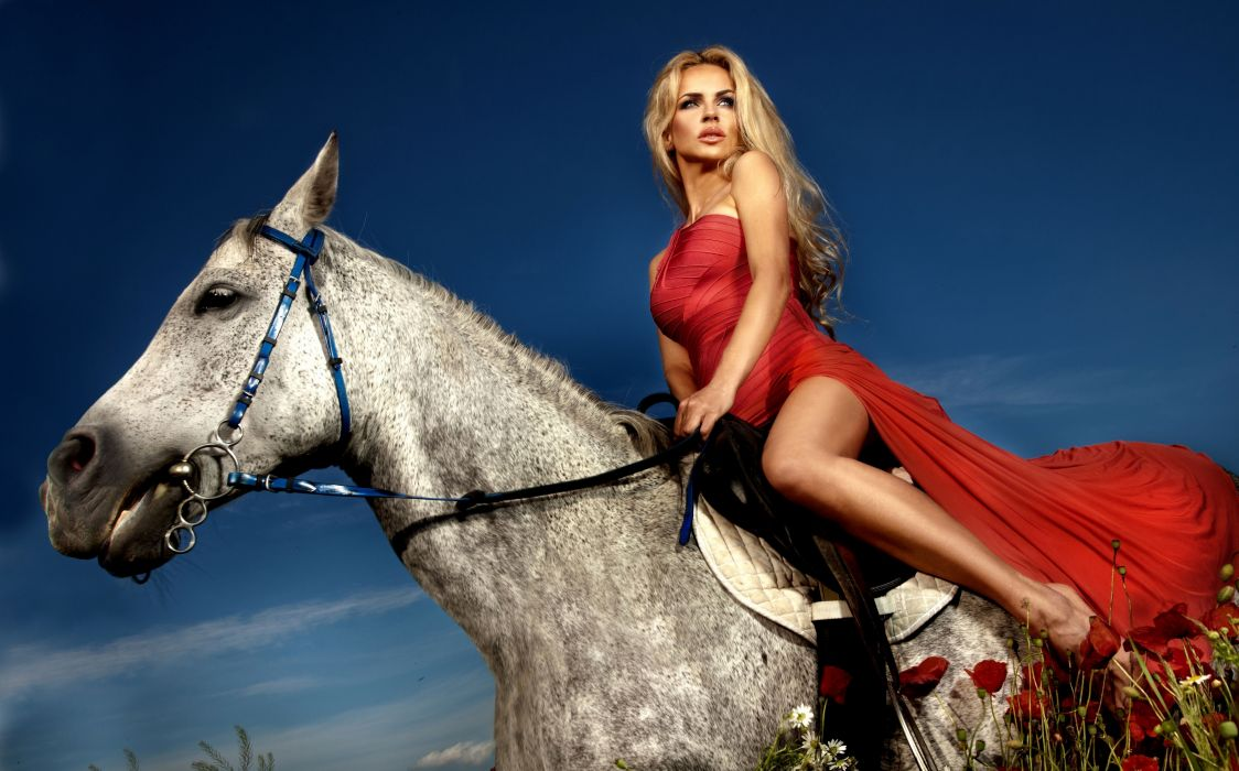 blonde dress horse horse rider rider poppies sexy babe model wallpaper