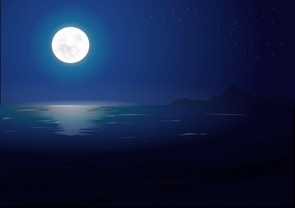 sea night stars landscape art moon wallpaper