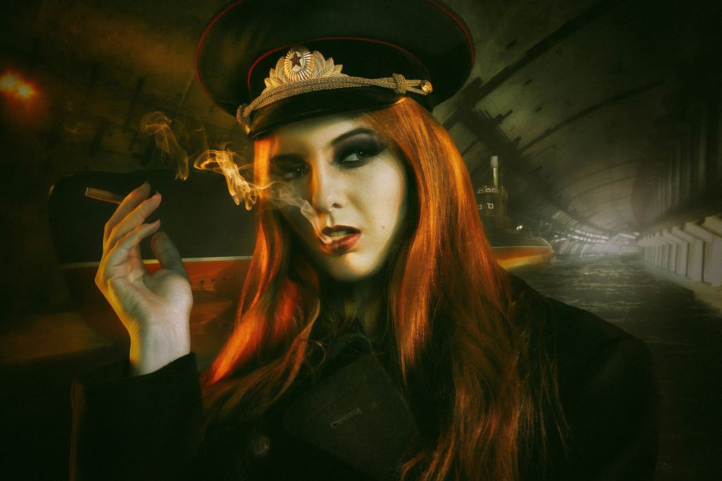 Shantia Veney a cap a tunnel a submarine a red-haired cigarette smoke redhead mood military wallpaper