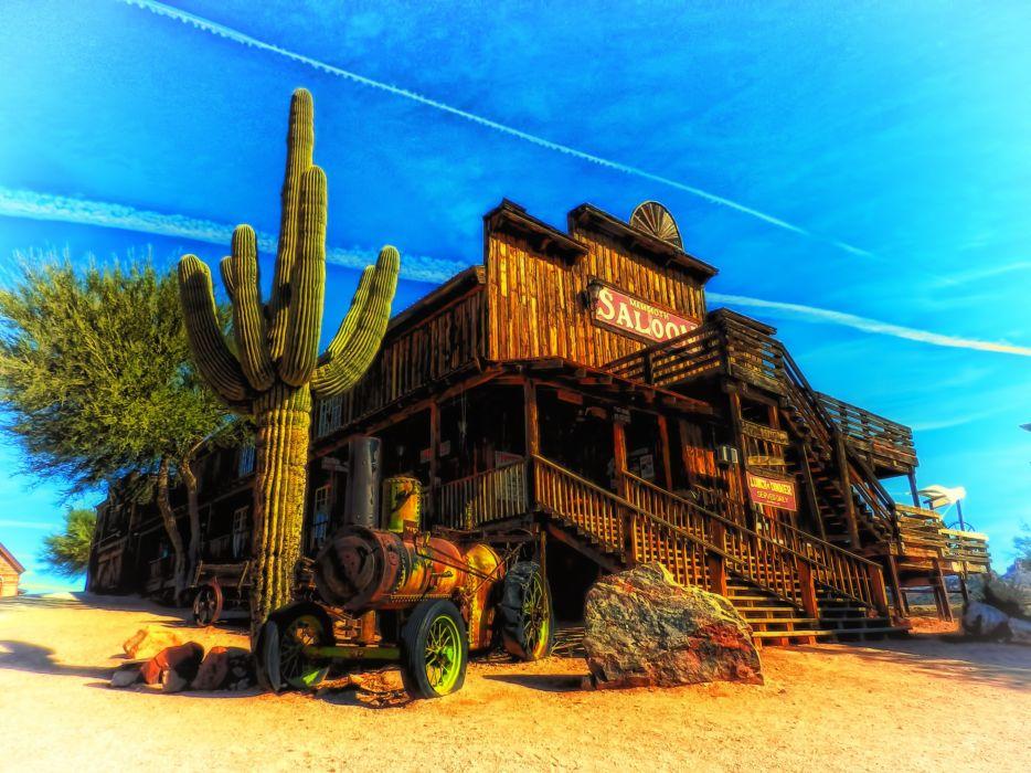 Arizona saloon cactus landscape western hdr    f wallpaper