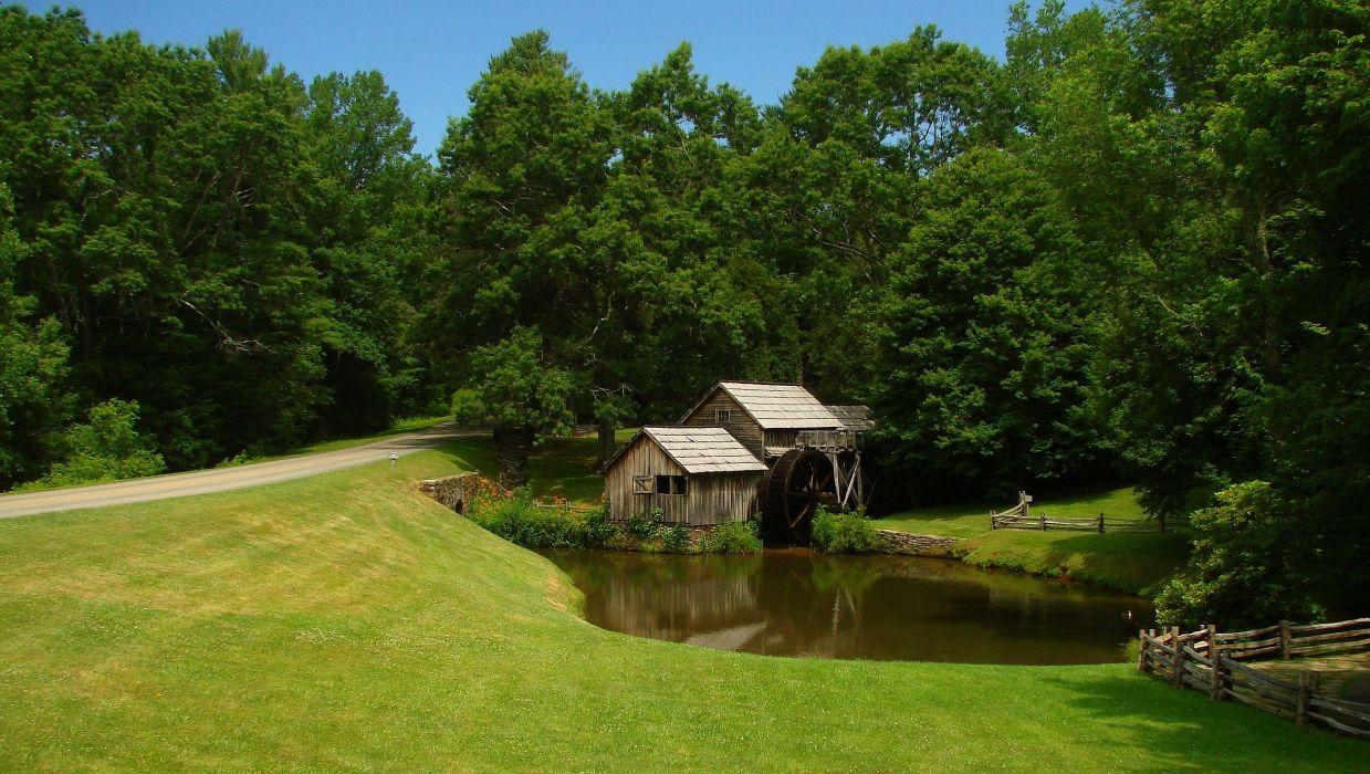 field road river bridge water mill forest trees landscape wallpaper