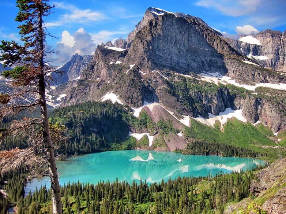 Glacier National Park mountains lake landscape wallpaper