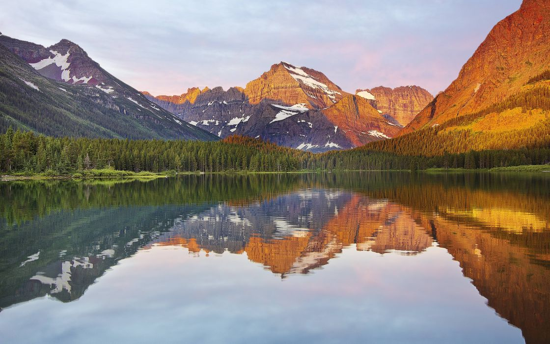 lake forest mountain reflection wallpaper