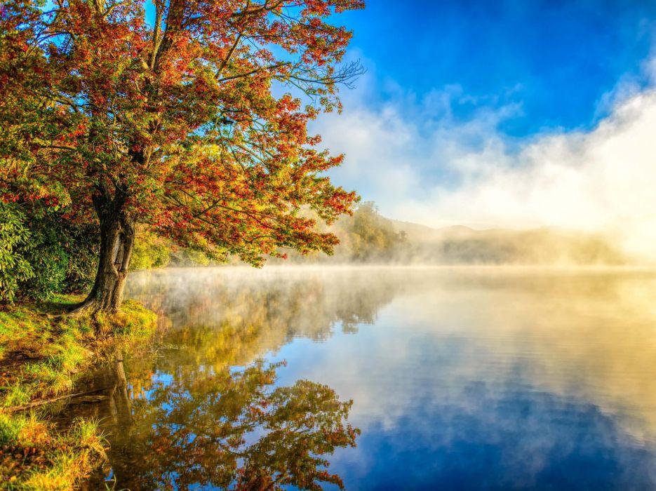 landscape mist lake nature autumn wallpaper